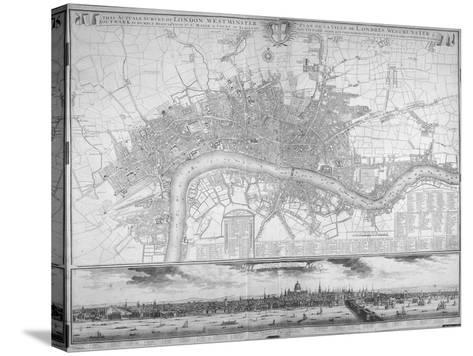 Map of Westminster, the City of London, Southwark, the Thames and Surrounding Areas, 1710--Stretched Canvas Print
