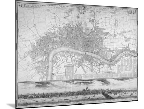 Map of Westminster, the City of London, Southwark, the Thames and Surrounding Areas, 1710--Mounted Giclee Print