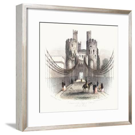 Suspension Bridge over the Conwy Estuary, Wales, C1840- Newman & Co-Framed Art Print