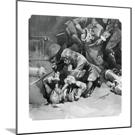 Thomas Blood Attempting to Steal the Crown Jewels from the Tower of London in 1671--Mounted Giclee Print