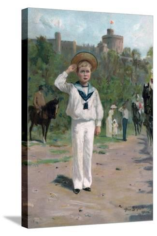 Edward, Prince of Wales, Saluting the Colours, 1902--Stretched Canvas Print