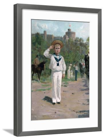 Edward, Prince of Wales, Saluting the Colours, 1902--Framed Art Print