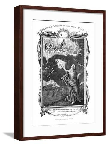 Ezekiel's Vision of a Chariot in the Sky and a Hand in the Clouds Holding Out a Book to Him, 1804--Framed Art Print