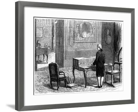 Lesage Experimenting with the First Electric Telegraph, Geneva, 1774--Framed Art Print