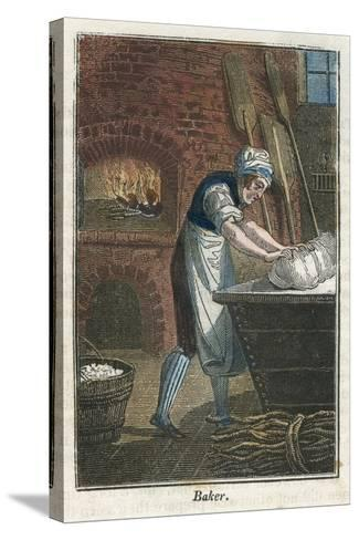 The Baker Kneading Dough on the Lid of a Flour Bin, 1823--Stretched Canvas Print