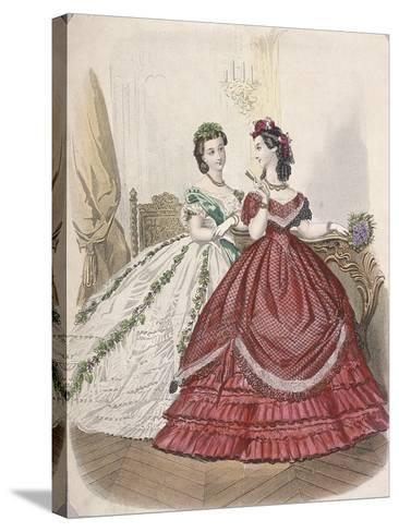 Two Women Wearing the Latest Indoor Fashions, C1850--Stretched Canvas Print