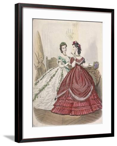 Two Women Wearing the Latest Indoor Fashions, C1850--Framed Art Print