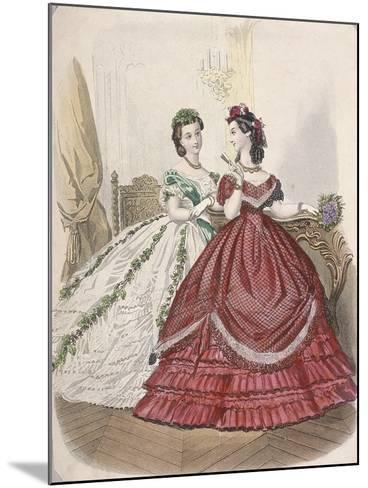 Two Women Wearing the Latest Indoor Fashions, C1850--Mounted Giclee Print