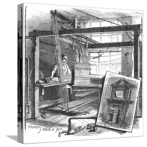 A Spitalfields Silk Weaver at His Hand Loom, 1884--Stretched Canvas Print
