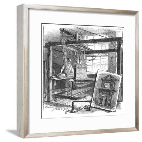 A Spitalfields Silk Weaver at His Hand Loom, 1884--Framed Art Print