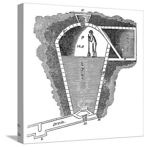 Refrigeration: Sectional View of an Ice House--Stretched Canvas Print