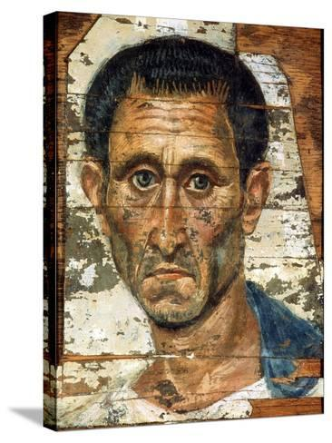 Portrait of a Middle-Aged Man in a Blue Cloak, Romano-Egyptian Mummy Portrait, Late 1st Century--Stretched Canvas Print