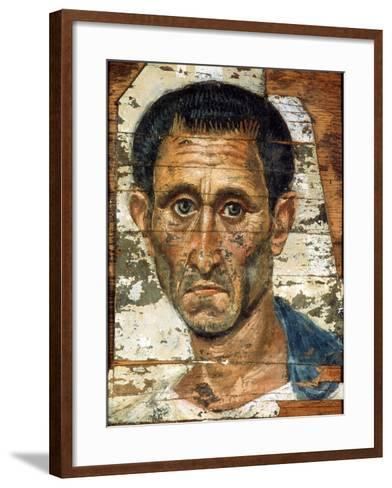 Portrait of a Middle-Aged Man in a Blue Cloak, Romano-Egyptian Mummy Portrait, Late 1st Century--Framed Art Print