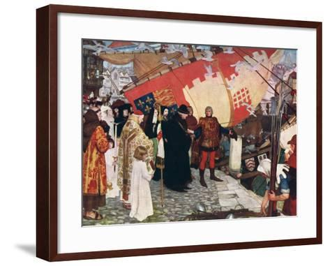 The Departure of John and Sebastian Cabot...On their First Voyage of Discovery in 1497, 1906-Ernest Board-Framed Art Print