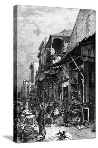 A Market Place in San Francisco, California, USA, Mid 19th Century--Stretched Canvas Print