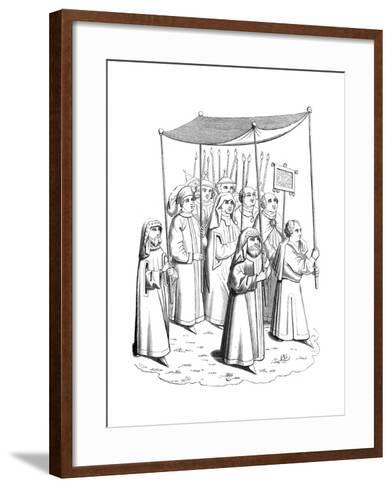 The Jewish Procession Going to Meet the Pope at the Council of Constance, 15th Century--Framed Art Print