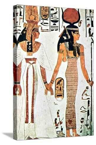 Nefertari and Isis, Ancient Egyptian Wall Painting from a Theban Tomb, 13th Century Bc--Stretched Canvas Print