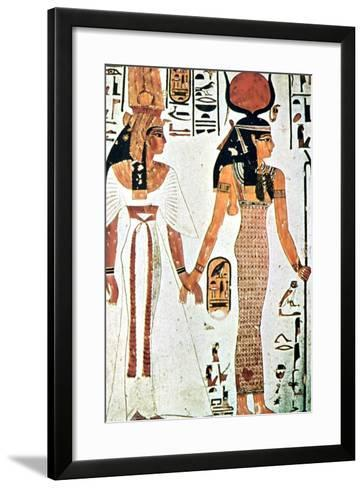 Nefertari and Isis, Ancient Egyptian Wall Painting from a Theban Tomb, 13th Century Bc--Framed Art Print
