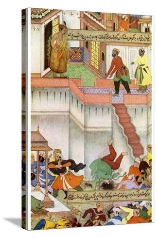 The Killing of Adham Khan by Akbar, C1600--Stretched Canvas Print