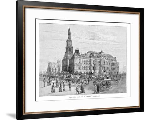 The Town Hall and St Andrew's Cathedral, Sydney, New South Wales, Australia, 1886--Framed Art Print