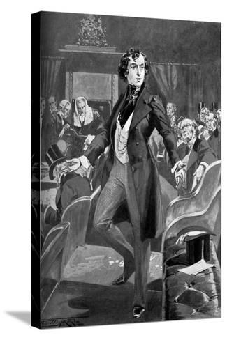 Disraeli's First Speech in the House of Commons, 19th Century-T Walter Wilson-Stretched Canvas Print