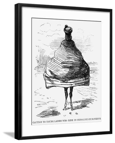 Caution to Young Ladies Who Ride in Crinoline on Donkeys, 1860--Framed Art Print