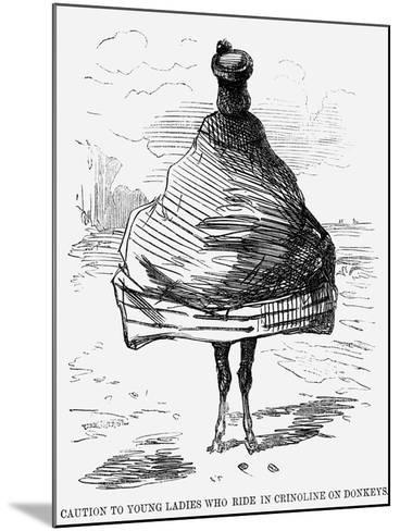 Caution to Young Ladies Who Ride in Crinoline on Donkeys, 1860--Mounted Giclee Print