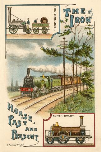 The Iron Horse Past and Present, C1900--Stretched Canvas Print
