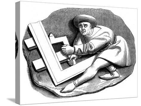A Carpenter's Apprentice Working at a Trial Piece, 15th Century--Stretched Canvas Print
