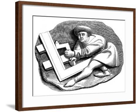 A Carpenter's Apprentice Working at a Trial Piece, 15th Century--Framed Art Print