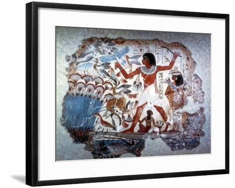 Ancient Egyptian Hunting Wildfowl with a Throwing Stick, C1350 BC--Framed Art Print