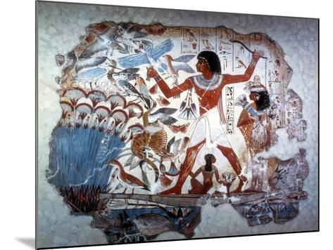Ancient Egyptian Hunting Wildfowl with a Throwing Stick, C1350 BC--Mounted Giclee Print