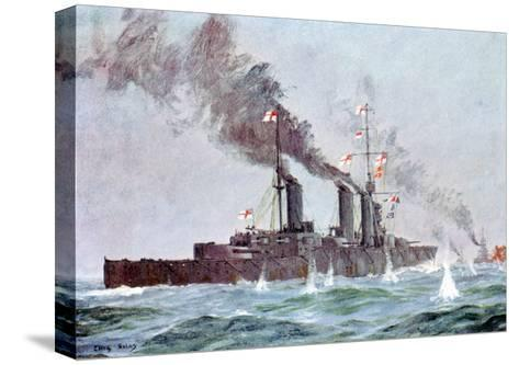 Battlecruiser HMS Lion Coming into Action, Battle of Jutland 31 May - 1 June 1916--Stretched Canvas Print