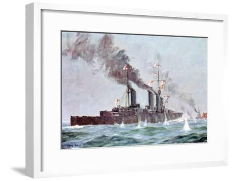 Battlecruiser HMS Lion Coming into Action, Battle of Jutland 31 May - 1 June 1916--Framed Art Print