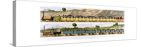 Travelling on the Liverpool and Manchester Railway, 1831--Stretched Canvas Print