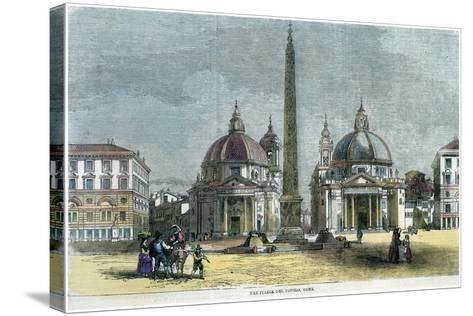 The Piazza Del Popolo, Rome, Italy, C1880--Stretched Canvas Print