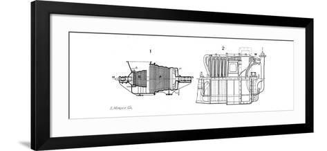 Longtudinal Sections of Two Steam Turbines--Framed Art Print