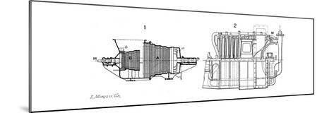 Longtudinal Sections of Two Steam Turbines--Mounted Giclee Print