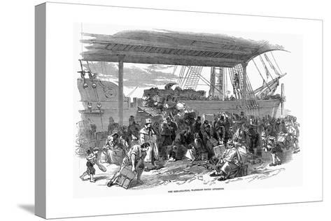 Irish Emigrants Embarking for America at Waterloo Docks, Liverpool, 1850--Stretched Canvas Print