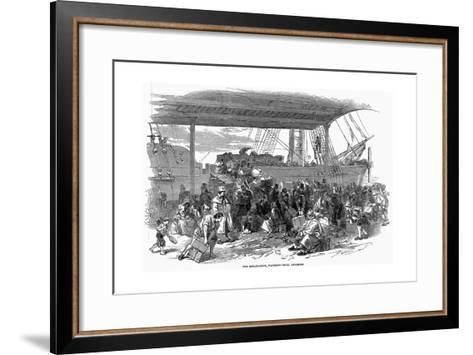 Irish Emigrants Embarking for America at Waterloo Docks, Liverpool, 1850--Framed Art Print