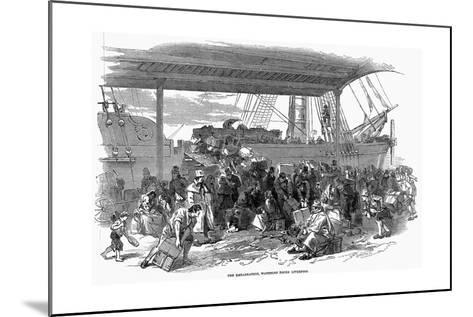 Irish Emigrants Embarking for America at Waterloo Docks, Liverpool, 1850--Mounted Giclee Print