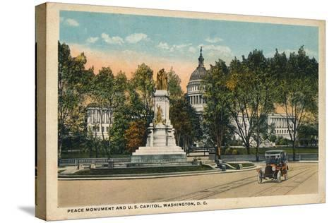 Peace Monument and U.S. Capitol, Washington, Dc, C1910--Stretched Canvas Print