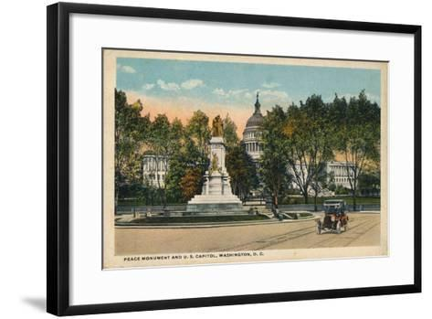 Peace Monument and U.S. Capitol, Washington, Dc, C1910--Framed Art Print