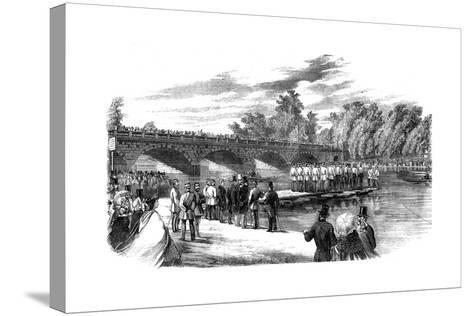 Experiments with Captain Fowke's Pontoon Bridge on the Serpentine, Hyde Park, London, 1860--Stretched Canvas Print