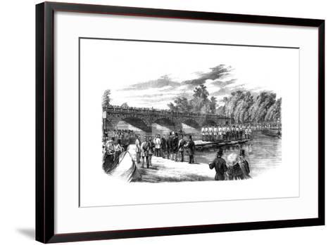 Experiments with Captain Fowke's Pontoon Bridge on the Serpentine, Hyde Park, London, 1860--Framed Art Print