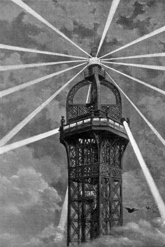 The Electric Light on Top of the Eiffel Tower, Paris, 1889--Stretched Canvas Print