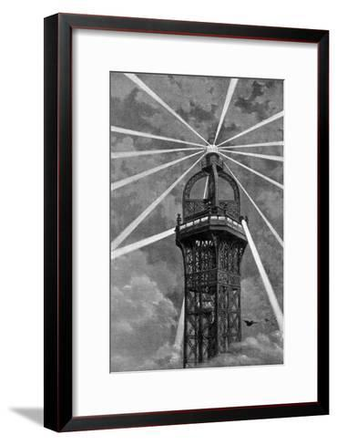 The Electric Light on Top of the Eiffel Tower, Paris, 1889--Framed Art Print