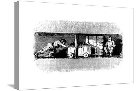 Boy Pushing a Truck Loaded with Coal from the Coal Face to the Bottom of the Pit Shaft, C1848--Stretched Canvas Print