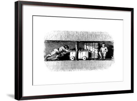Boy Pushing a Truck Loaded with Coal from the Coal Face to the Bottom of the Pit Shaft, C1848--Framed Art Print