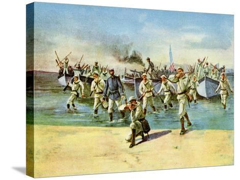Landing Ammunition for the Insurgents, under Fire, Spanish-American War, Cuba, 1898--Stretched Canvas Print